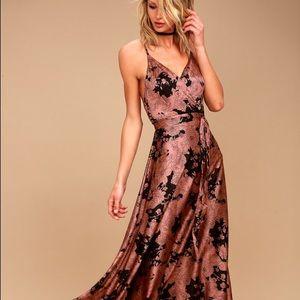 NWT Lulu's Rusty Rose Floral Satin Maxi Dress